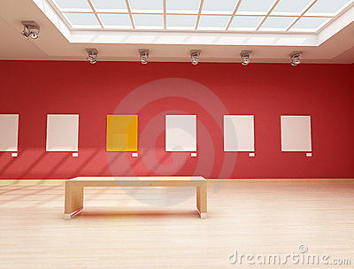 Modern red art gallery