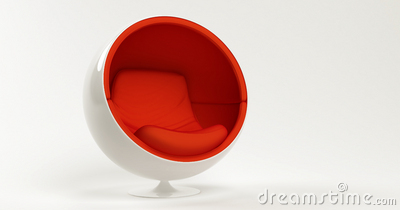 Modern red ball chair isolated on white background
