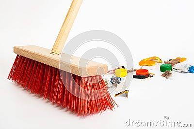 Modern red broom