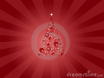 Modern red christmas card with tree