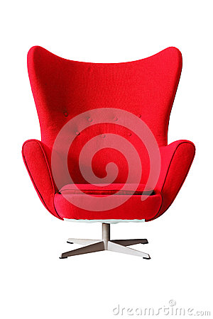 Modern red classic armchair isolated on white background, clippi