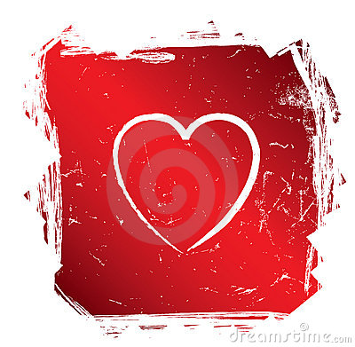 Modern red grunge heart, vector