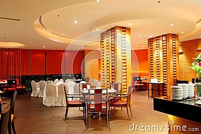 Modern restaurant interior in night illumination