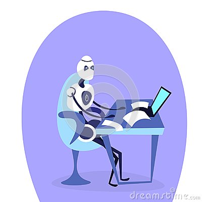 Free Modern Robot Sitting Office Workplace Using Laptop Bot Helper Artificial Intelligence Working Concept Cartoon Character Stock Images - 123628954
