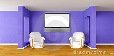 Modern room with  armchairs and lcd tv