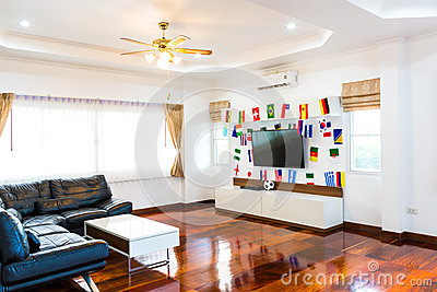 Modern room with TV and Flags.