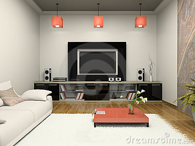 Modern room witn home theater
