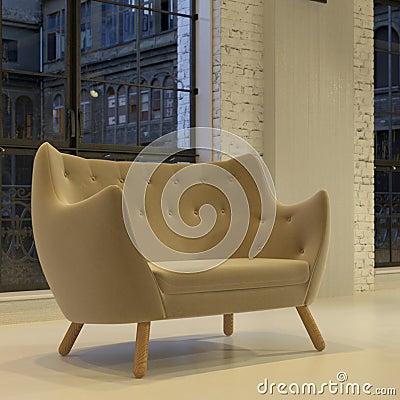 Modern round velvet sofa in loft