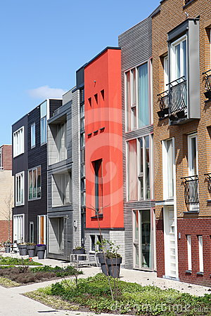 Modern row of unique Dutch homes in Leiden