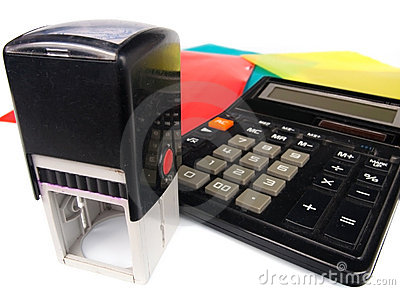 Modern Rubber Stamp And Calculator Stock Image - Image: 11589081
