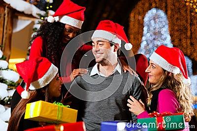 Modern Santa Claus in Shopping mall