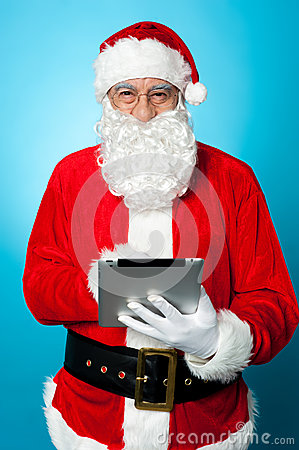 Modern Santa using digital touch screen device