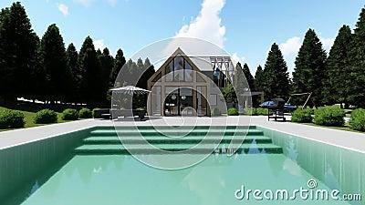 Modern Scandinavisch huis met zwembadbuitenochtend stock footage