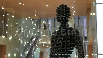 Modern Sculpture of Men. KIEV, UKRAINE - 10-11-2016 Modern male sculpture stock video