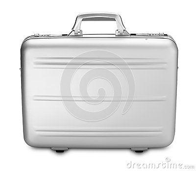 Modern silver briefcase  (clipping path)