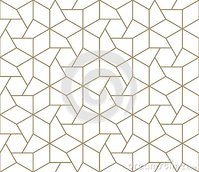 Modern simple geometric vector seamless pattern with gold line texture on white background. Light abstract wallpaper Vector Illustration