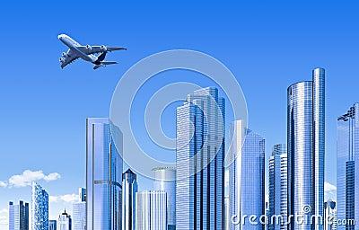 Modern skyline with plane