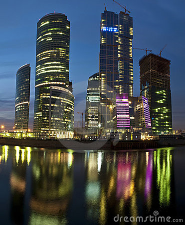 Modern skyscrapers at night