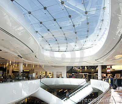 Modern sleek shopping architecture in mall