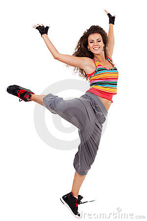 Modern slim hip-hop style woman dancer