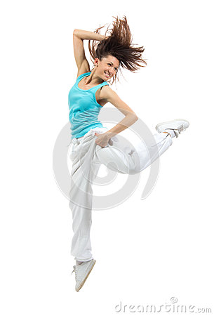 Modern slim hip-hop style woman dancer dancing