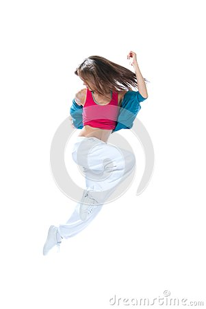 Modern slim style woman dancer jumping