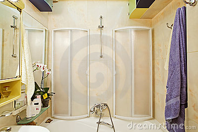 Modern small shower-bath with shower-cubicle