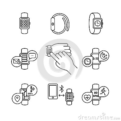 Modern Smart Watches And Apps Stock Vector