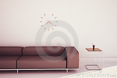 Modern sofa and end table