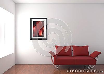 Modern sofa in room