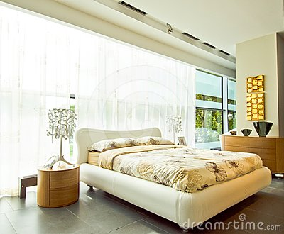 Modern spacious bedroom