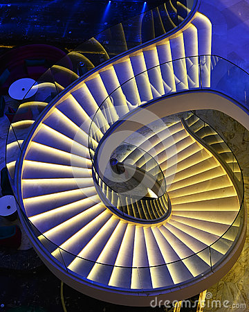 Free Modern Spiral Stairs Decorated With Led Light Stock Image - 51862651