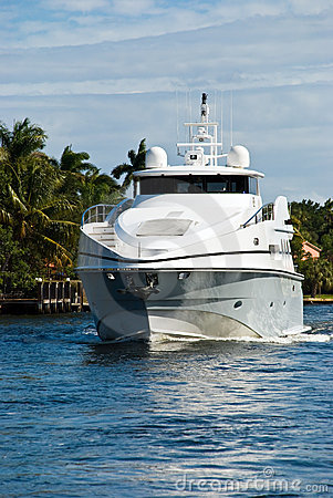 A Modern Sporting , Comfortable Yacht On The Sea