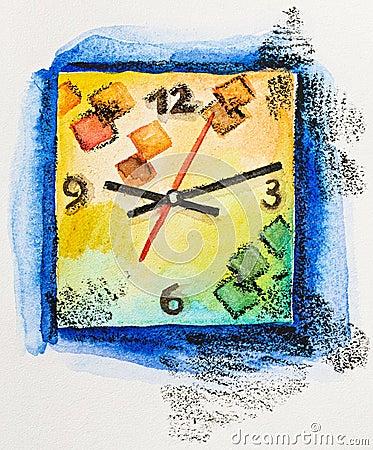 Modern square clock time concept, watercolor