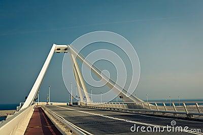 Modern steel bridge – horizontal view