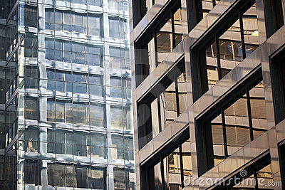 Modern steel and glass office building detail