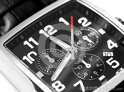 Modern steel wristwatch time concept