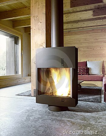 Free Modern Stove In The Living Room Stock Images - 21163114