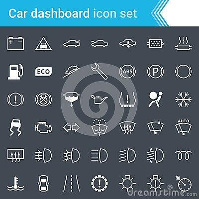 Free Modern, Stroked Car Dashboard, Indicators And Service Maintenance Icons Isolated On Dark Background. Royalty Free Stock Images - 118218319