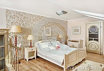 Modern style bedroom in beigeon loft room