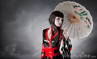 Modern style geisha in fetish kimono