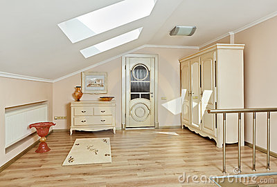 Modern style loft room interior in light beige