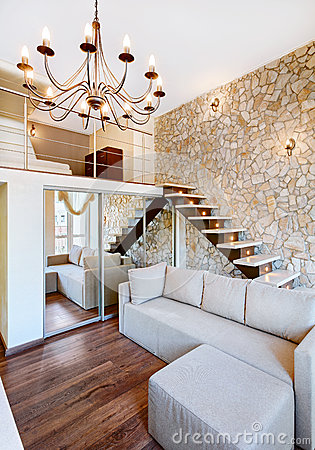 Free Modern Style Two-high Living-room Interior With Staircase Royalty Free Stock Photography - 29159737