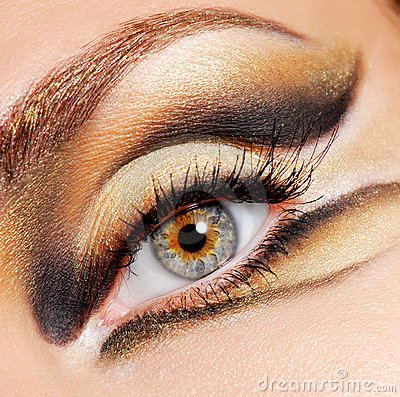 Modern and stylish coloured eye make-up