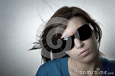 Modern, stylish portrait of young woman