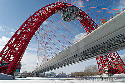 Modern suspended bridge in Moscow