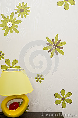 Modern Table Lamp and Flower Wallpaper