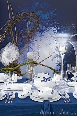 Modern table setting at night
