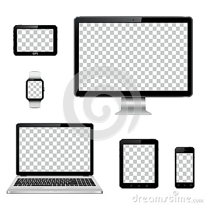 Free Modern Technology Devices With Transparent Wallpaper Screen Isolated Royalty Free Stock Photography - 123912857