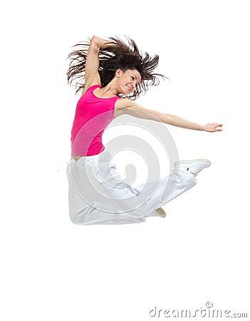 Modern  teenage girl jumping dancing